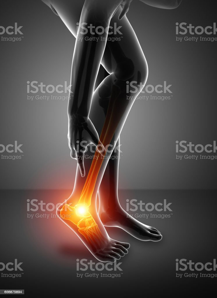 Male foot with ankle pain stock photo