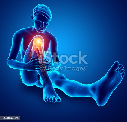 512698489 istock photo Male foot with ankle pain 695866376