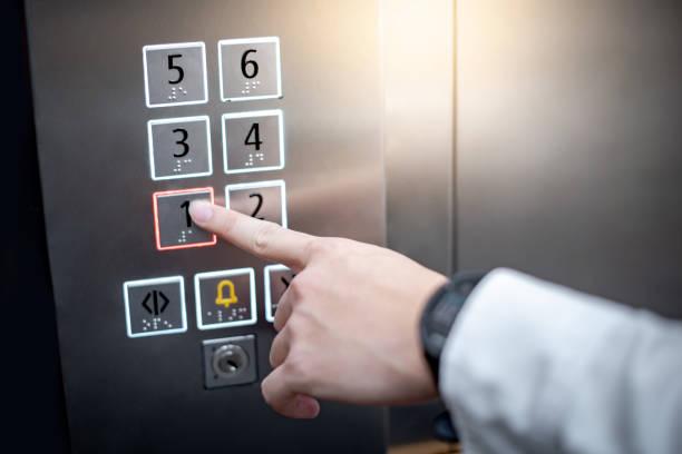 Männlicher Zeigefinger (Zeigefinger), der auf den ersten Stock oder die Etage Nummer eins im Aufzug drückt (Lift). Maschinenbaukonzept – Foto