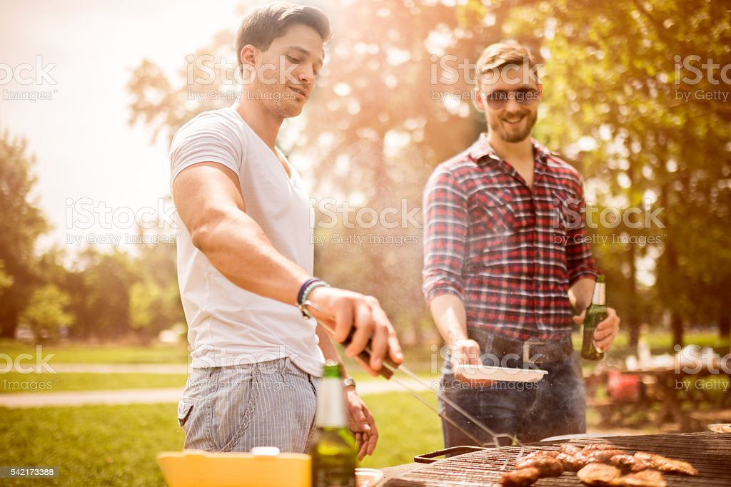 Male friends on a barbecue picnic stock photo
