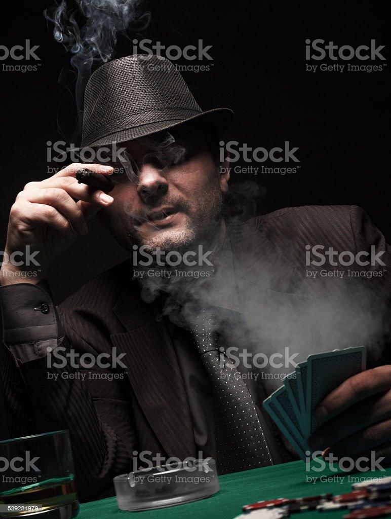 Male gambler playing poker. royalty-free stock photo