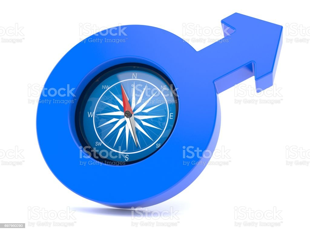 Male gender symbol with compass stock photo