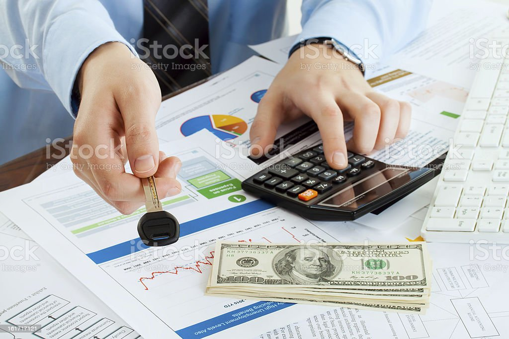 male giving key and account money royalty-free stock photo