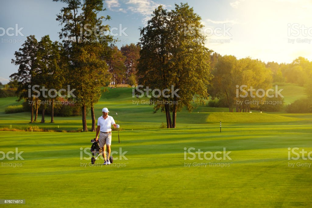 male golf player stock photo