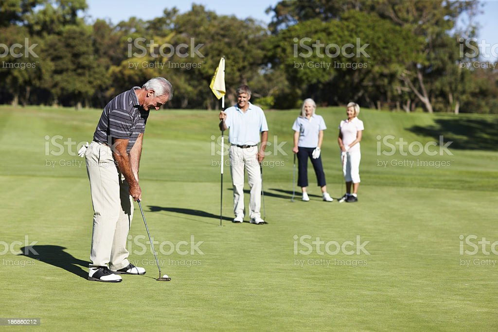 Male golfer in concentration royalty-free stock photo