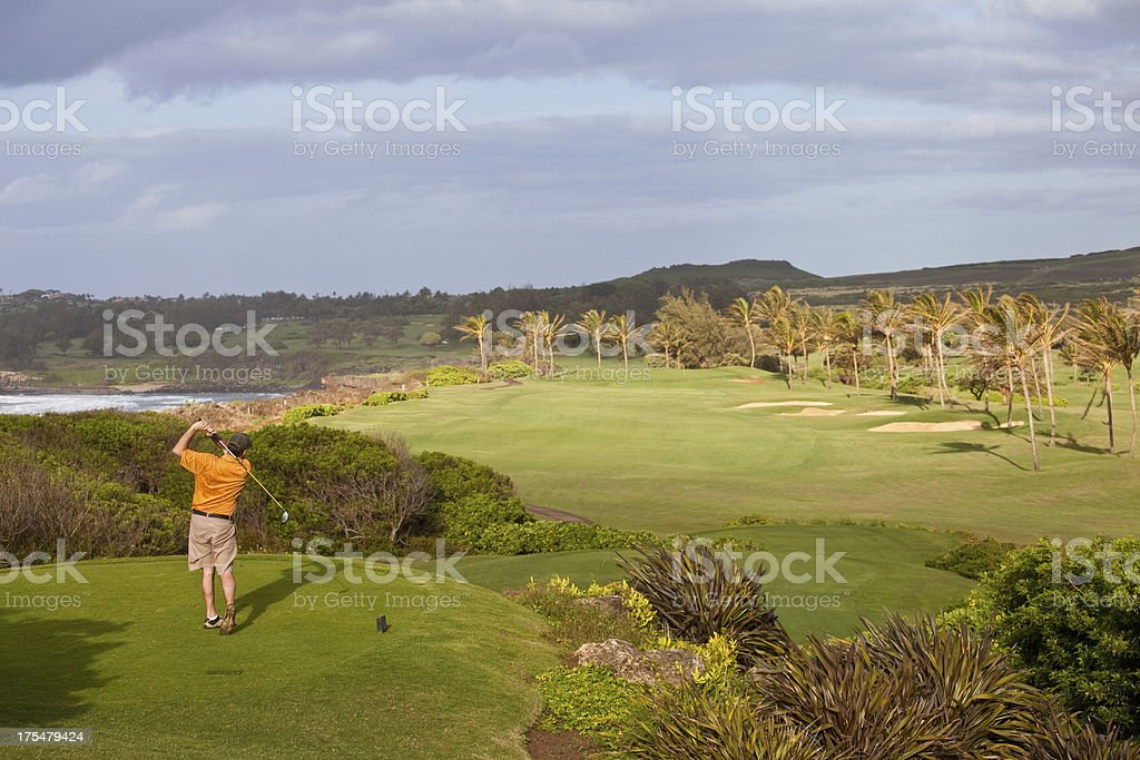 Male Golfer on a Beautiful Golf Course in the Tropics royalty-free stock photo