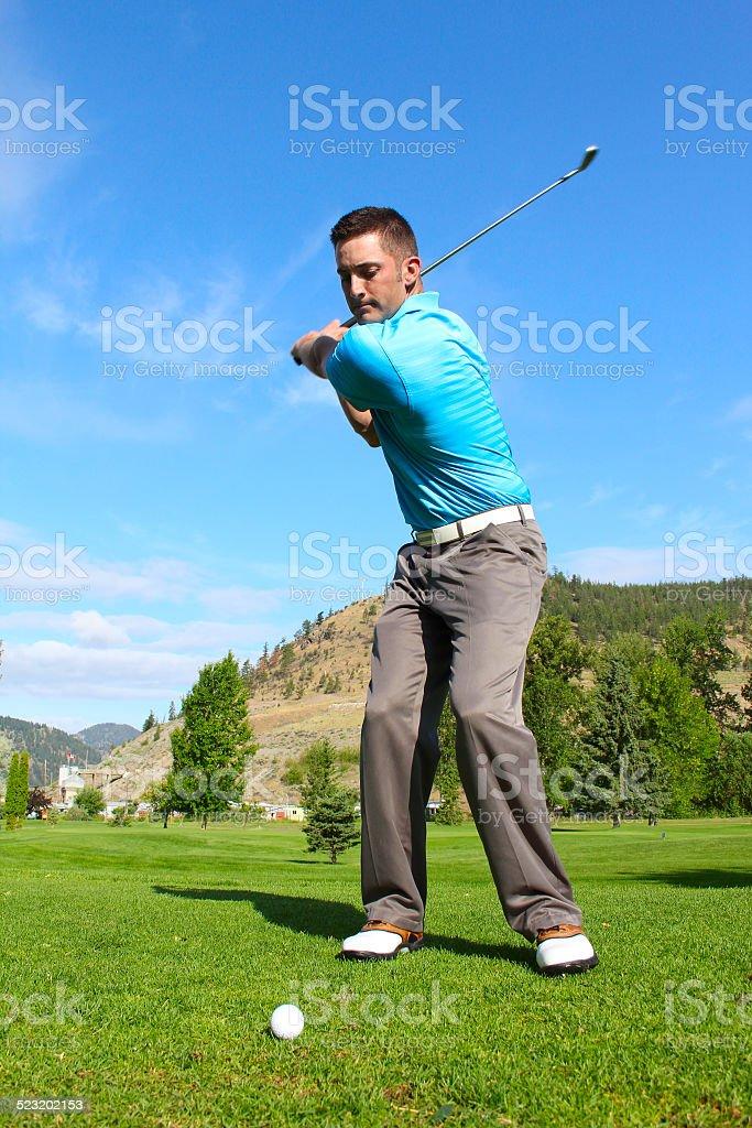Male golfer stock photo