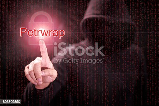 686526046istockphoto Male hacker pointing Petrwrap or Petya ransomware and red padlock symbol 803805850