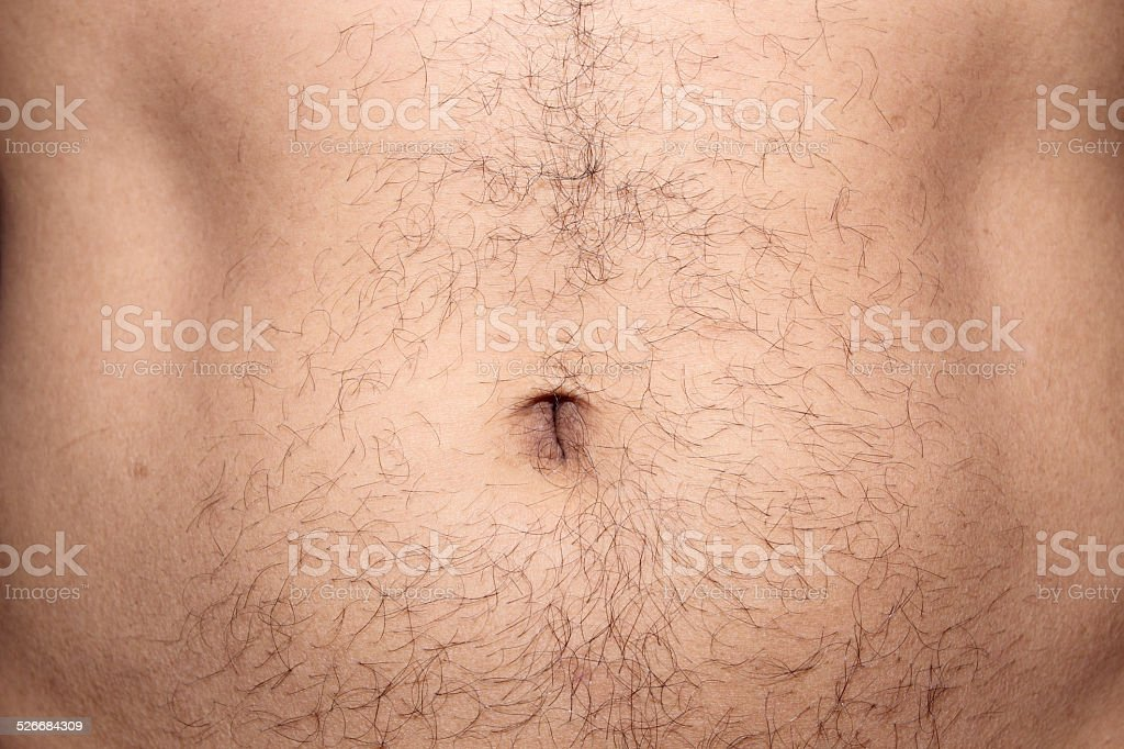 Male hairs belly stock photo