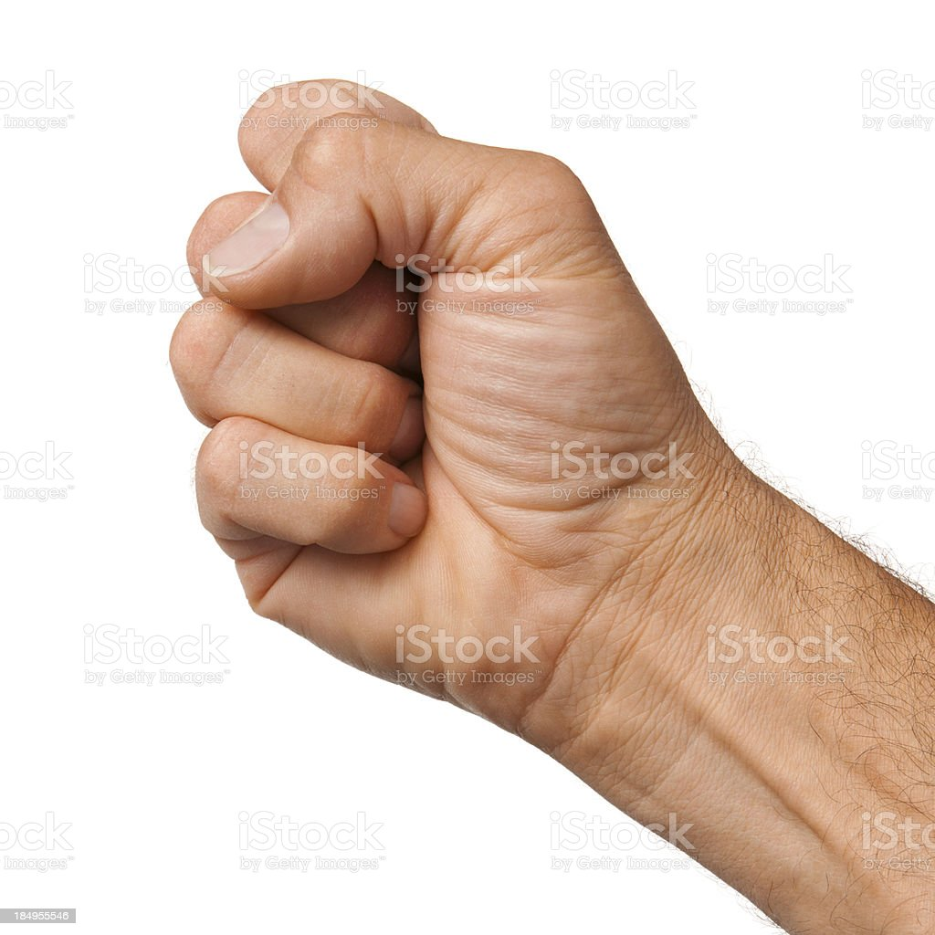 Male hand clenching the fist on white background stock photo