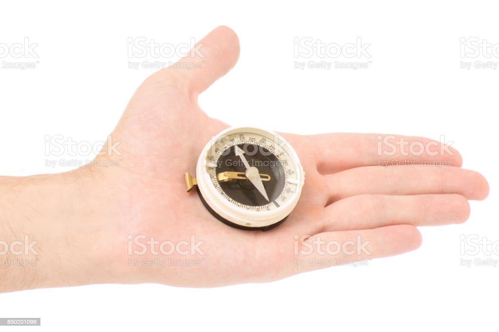 Male hand compass stock photo