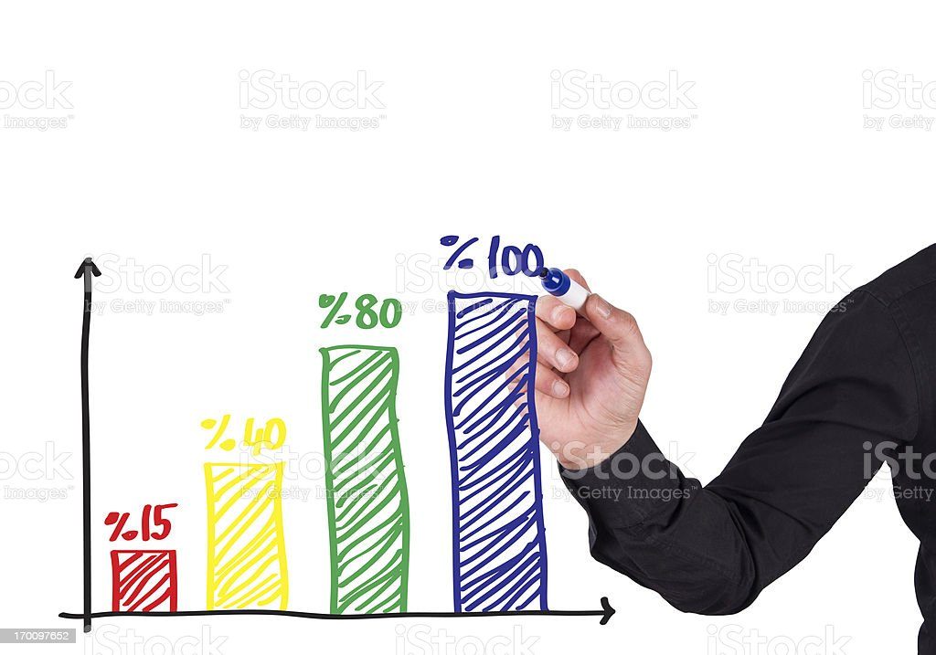 Male Hand Drawing a Chart royalty-free stock photo