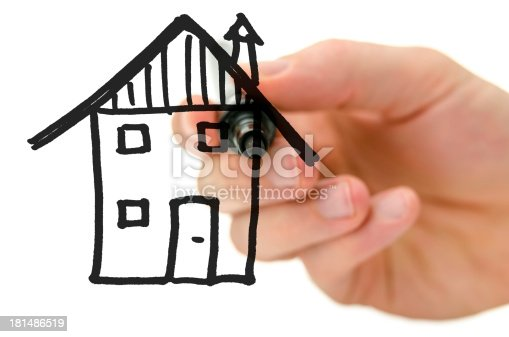 534196421istockphoto Male hand drawing house on a virtual whiteboard 181486519