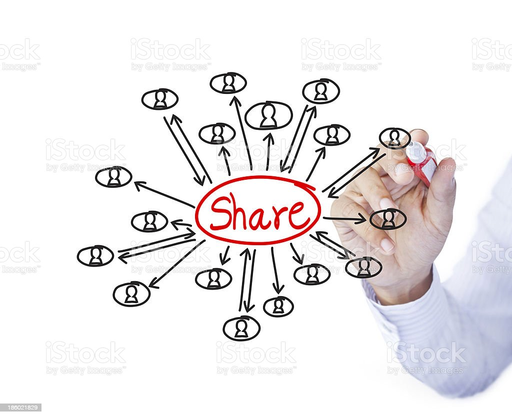 Male hand drawing sharing concept royalty-free stock photo