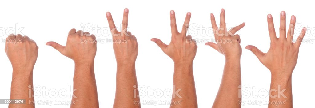 Male hand gesture and sign collection stock photo