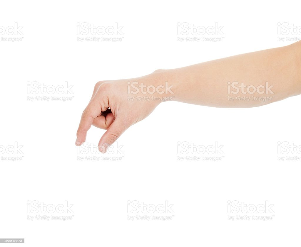 male hand grabbing for something isolated stock photo