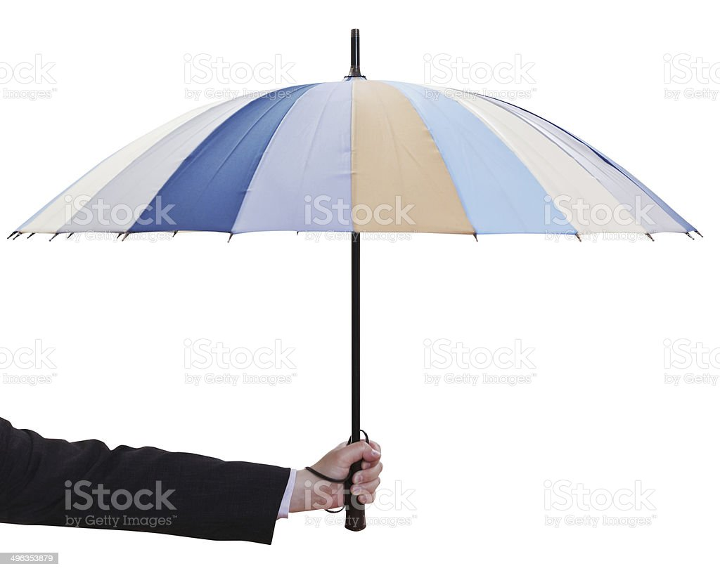 male hand hold open multicolored umbrella royalty-free stock photo