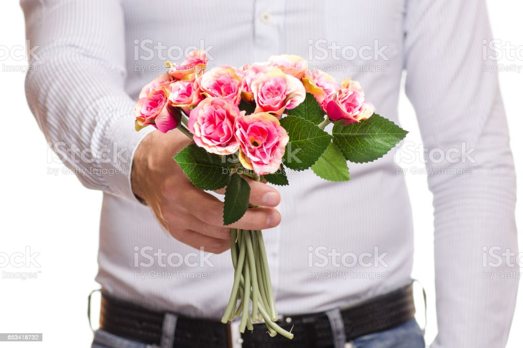 Male Hand Holding A Bouquet Of Flowers Stock Photo & More Pictures ...