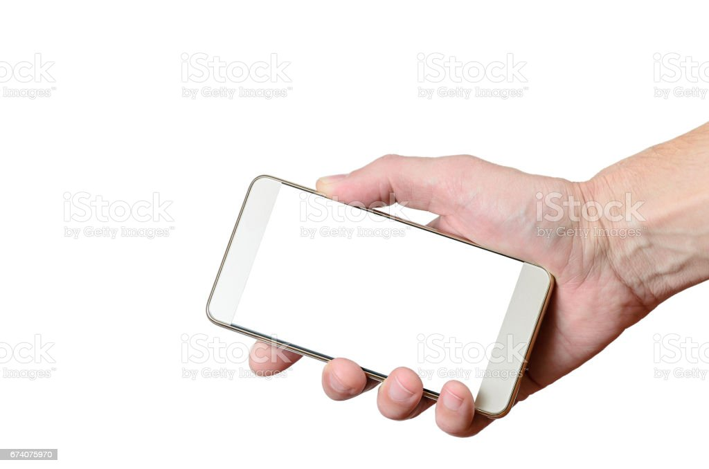 male hand holding a cell phone in the lower right side royalty-free stock photo
