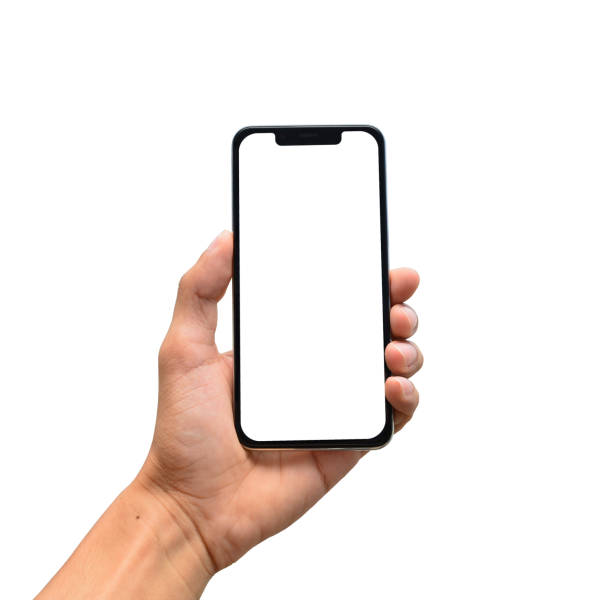 Male hand holding a modern smartphone with blank screen, notch Male hand holding a modern smartphone with blank screen, notch phone stock pictures, royalty-free photos & images