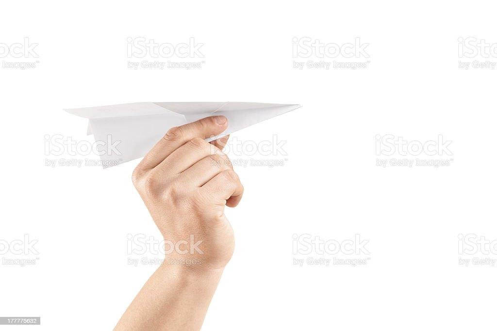 Mâle Main tenant un Avion en papier - Photo