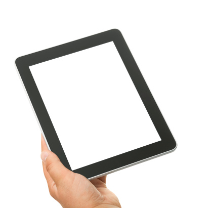 Young mans hand holding a tablet computer on white background