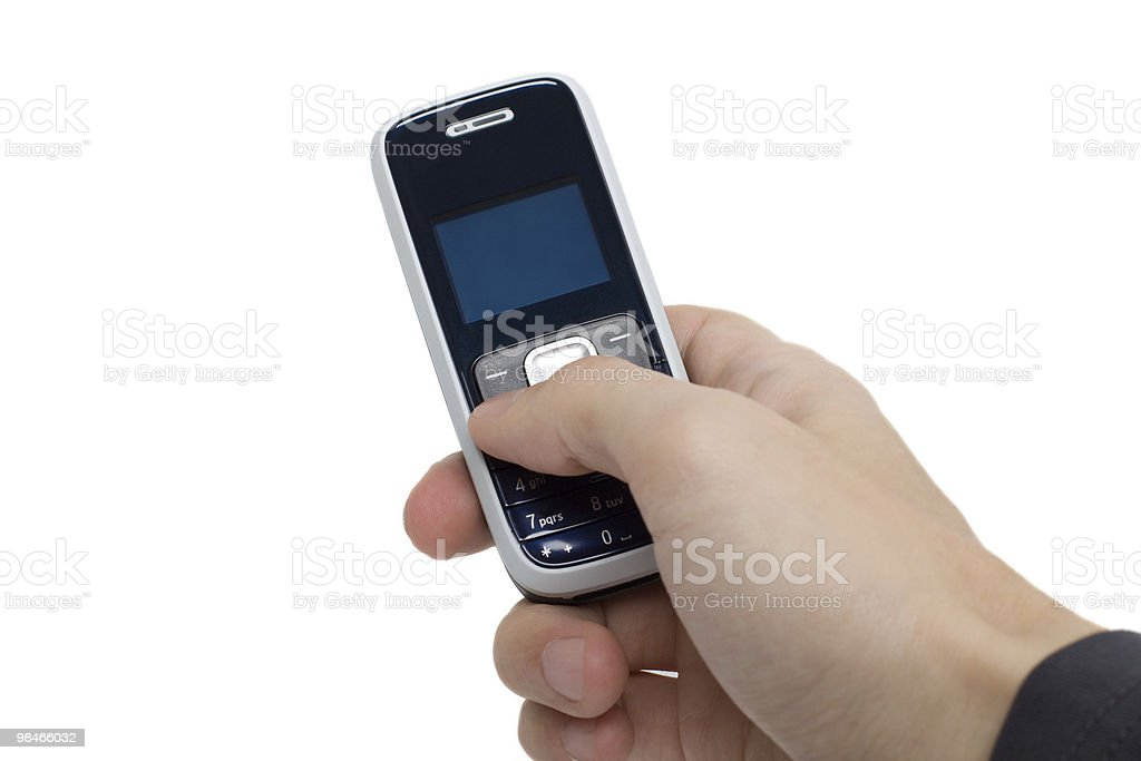 Male hand holding cell phone. royalty-free stock photo