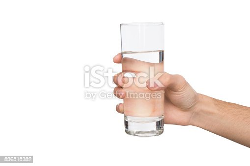 istock Male hand holding glass of water isolated on white 836515382