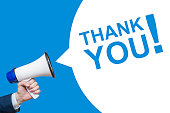 istock Male hand holding megaphone with Thank you speech . Loudspeaker with Thank you text. 1247239690