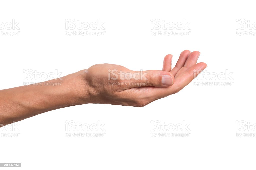Male hand holding stock photo