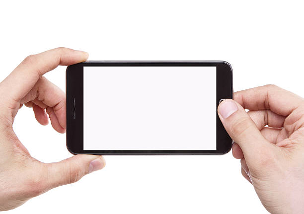 male hand holding smartphone blank screen taking photo - photo messaging stock photos and pictures