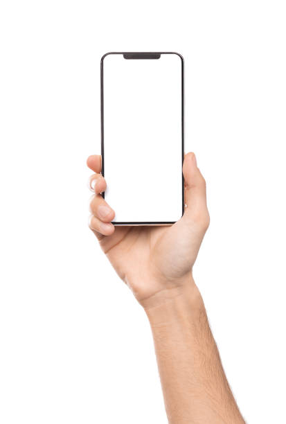 Male hand holding smartphone with blank screen stock photo