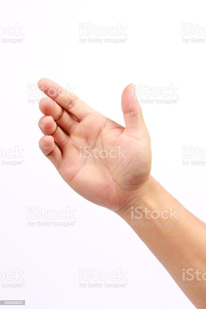 Male hand holding something stock photo