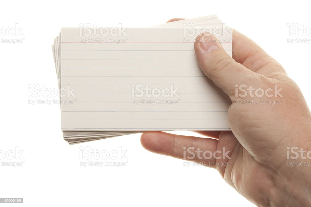Male Hand Holding Stack of Flash Cards royalty-free stock photo
