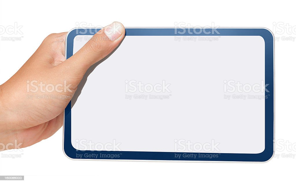 male hand holding touchpad pc royalty-free stock photo