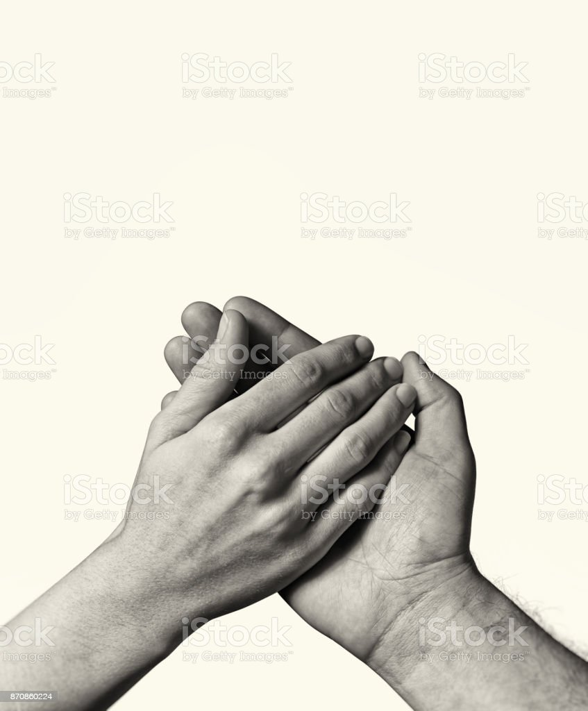 Male hand holds the female palm. stock photo