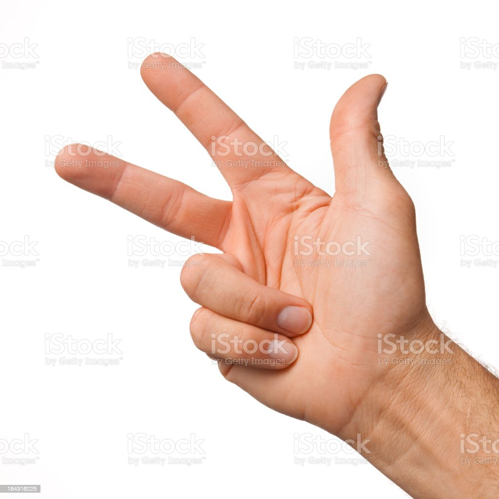 Male hand making the number three on white background royalty-free stock photo