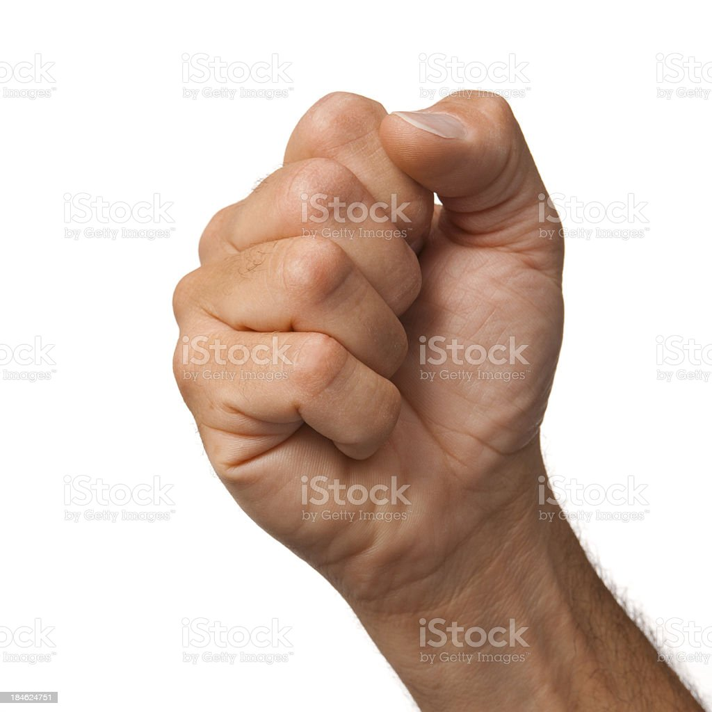 Male hand making the power fist on white background stock photo