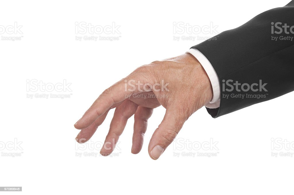 A male hand of a businessman in a suit stock photo
