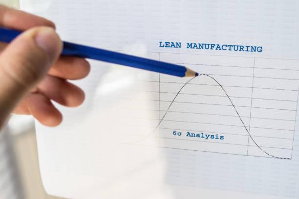 male hand pointing with a pencil at a lean manufacturing six sigma chart - appoggiarsi foto e immagini stock