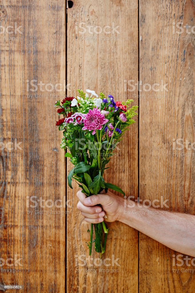 male hand presenting a wild bunch of flowers picked on meadow stock photo