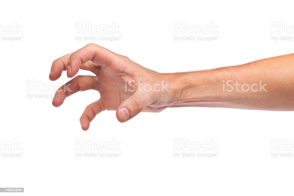 Male hand reaching for something on white stock photo