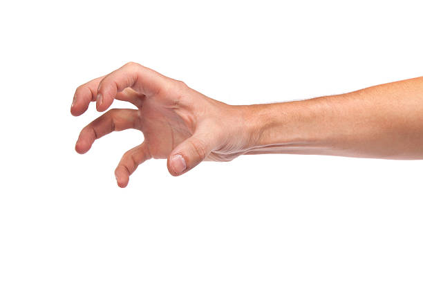 male hand reaching for something on white - gripping stock photos and pictures