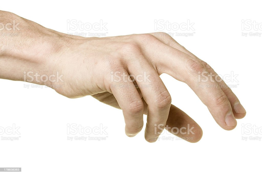 Male hand reaching to pick up something, isolated on white stock photo