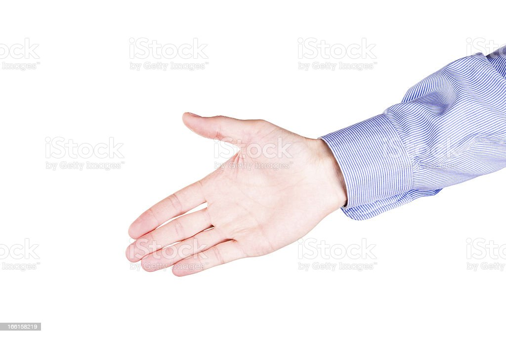 Male hand stretching for handshake royalty-free stock photo