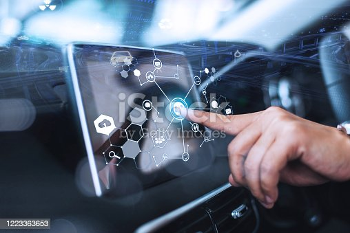 829192098 istock photo Male hand touching scrfuturistic vehicle and graphical user interface(GUI). intelligent car. connected car. Internet of Things. Heads up display(HUD).een in modern car. 1223363653