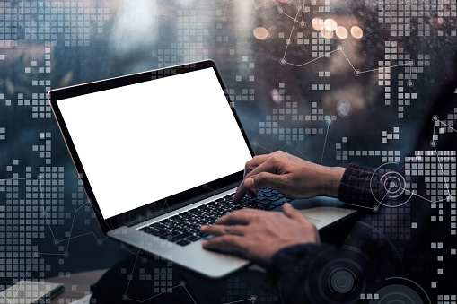istock Male hand using laptop and chart interface.Business technology concept 922744562