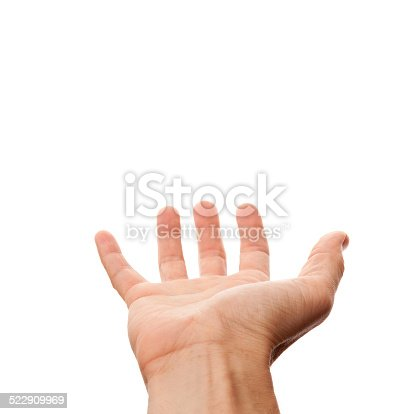 182925103 istock photo Male hand with empty place for holding, isolated on white 522909969