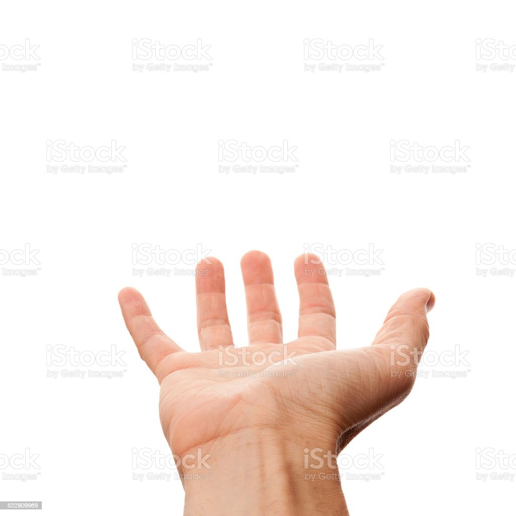 Male hand with empty place for holding, isolated on white stock photo