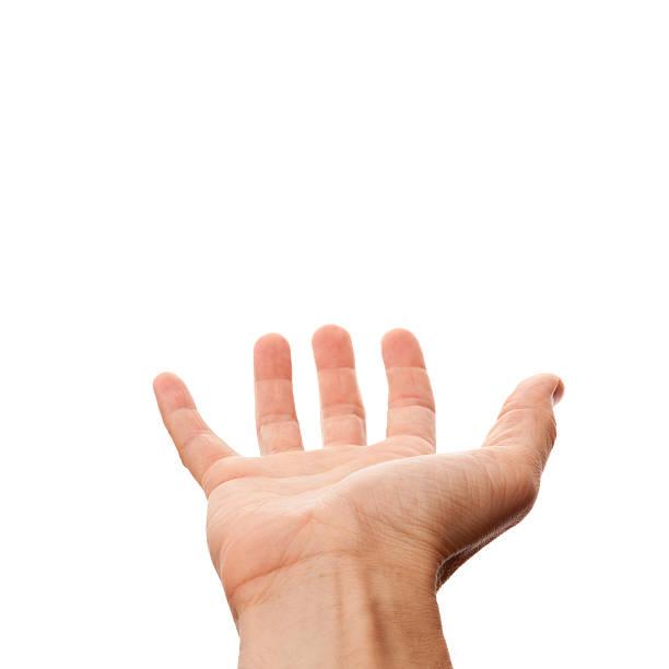 maschio mano con posto per tenere vuoto, isolato su bianco - palmo foto e immagini stock
